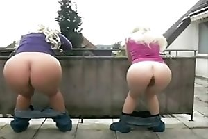 Two blonde teen girls pooping and peeing