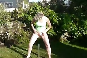 Woman piss and shit into bottle